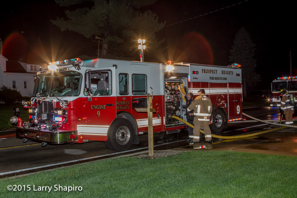 Spartan fire engine at night scene