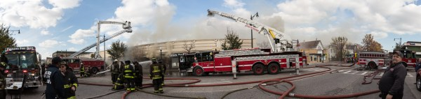 panorama of commercial fire scene in Chicago