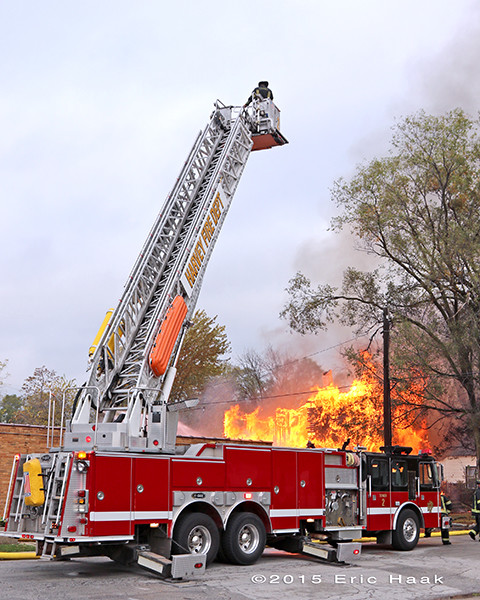 E-ONE tower ladder at fire scene