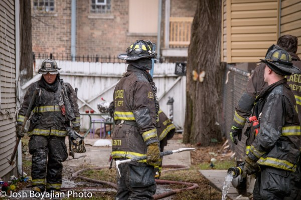 Chicago firefighters after fighting a fire