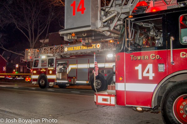Chicago FD and Oak Park FD tower ladders