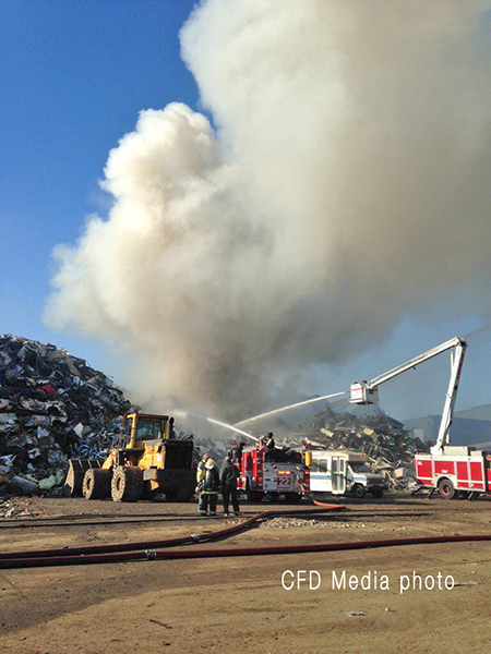 large scrap pile burning