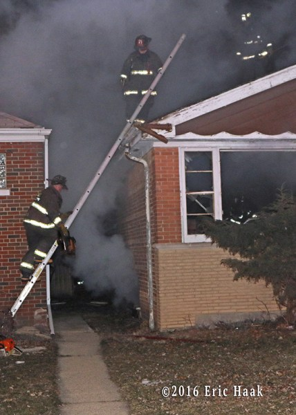 night house fire scene