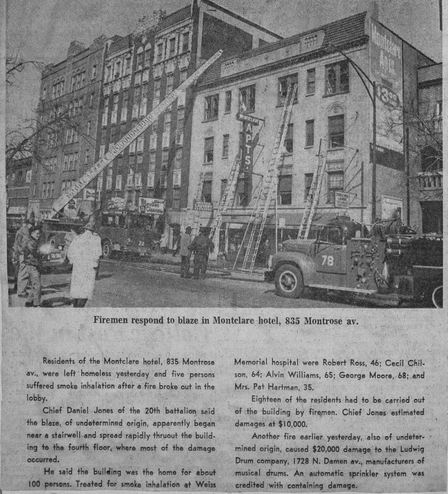 News clipping from a fire at the Montclair Hotel at 835 W. Montrose Avenue in Chicago