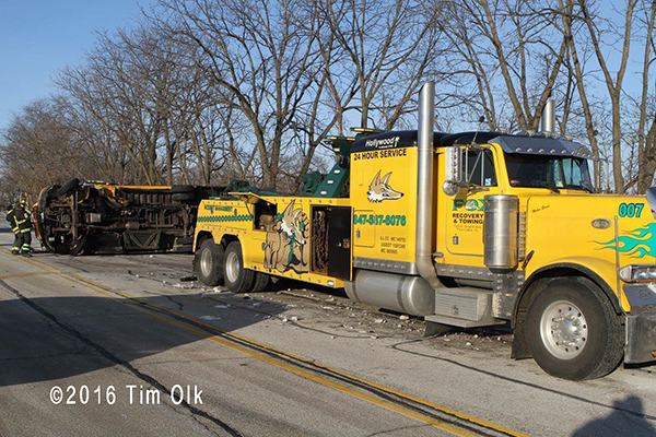 heavy wrecker tow truck at crash site