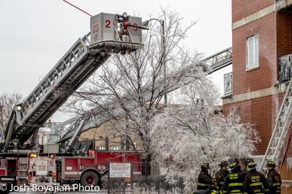 winter fire scene