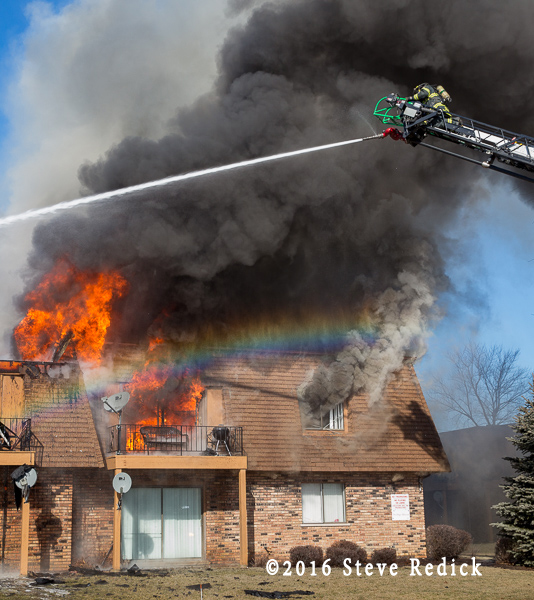 heavy fire and thick smoke at fire scene
