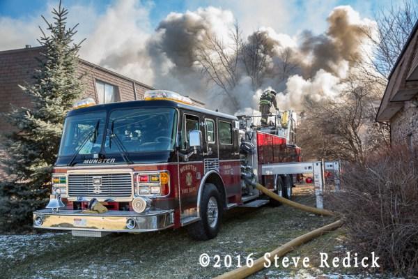 Munster fire truck at fire scene