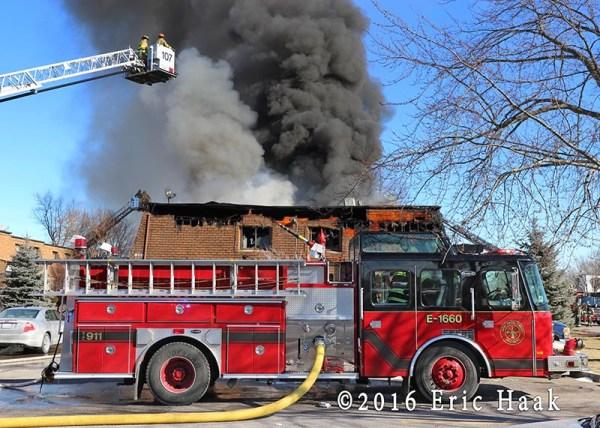 East Hazel Crest fire truck at fire scene