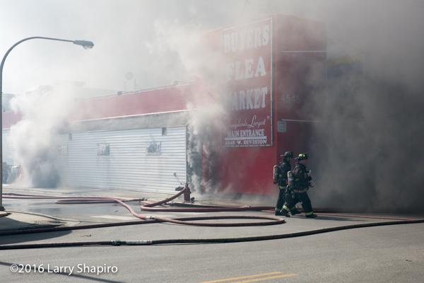 Chicago firefighters battle a huge fire