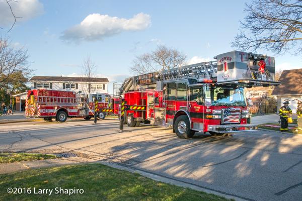 Pierce fire trucks at fire scene