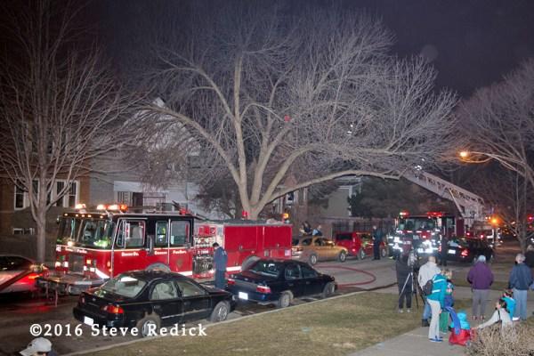 Chicago fire trucks at fire scene