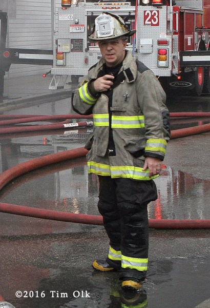 Chicago FD District Chief Tim Sampey at fire scene
