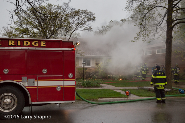 smoke from house fire in Park Ridge