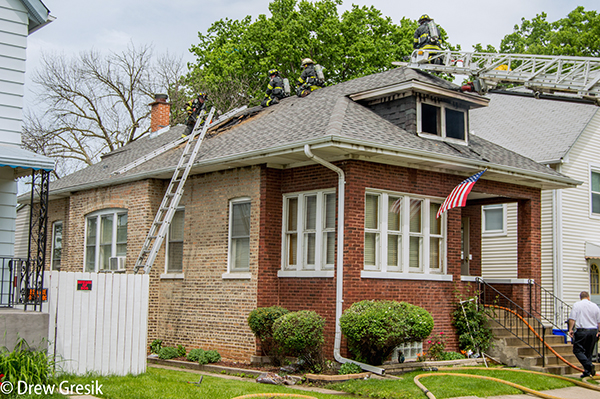 ladders to roof of house fire