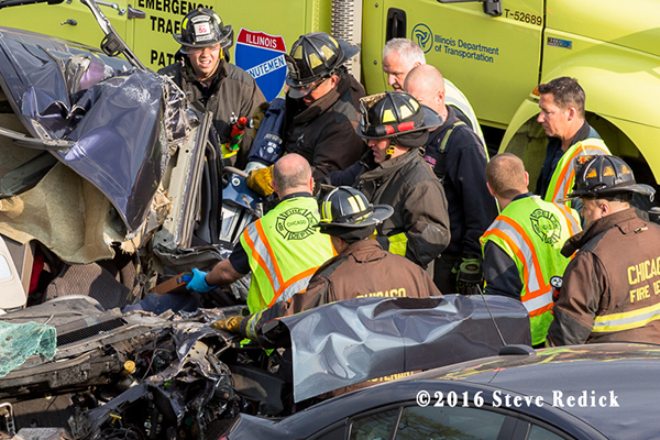 firefighters extricate driver after crash
