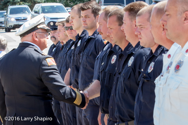 firefighters bid farewell to Prospect Heights Fire District Fire Chief Donald Gould Jr