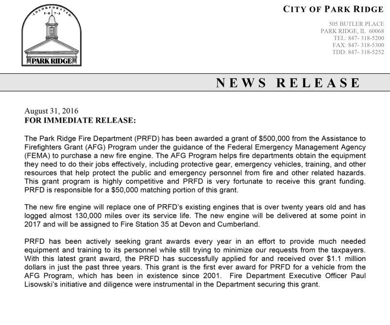 Media Release 08-30-16 AFG Grant for Engine.doc