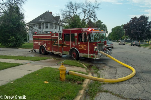 Spartan fire truck in Maywood IL at fire scene