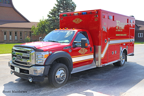 East Joliet FPD Ambulance 52 is a Ford F-450/Horton Type I ALS unit. Scott Matthews photo