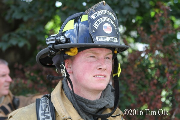 closeup of Waukegan firefighter