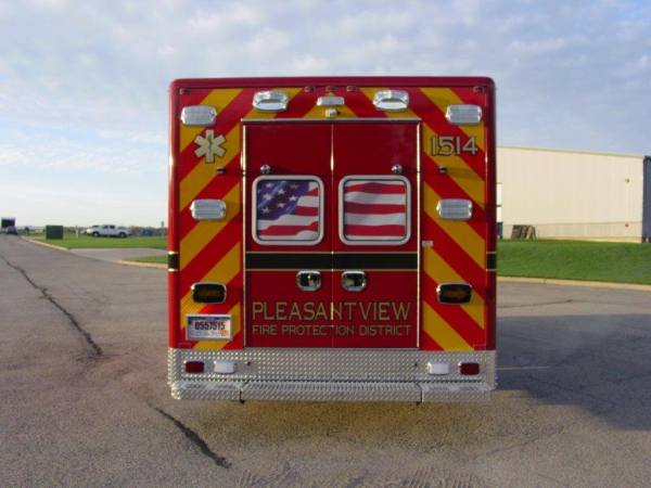 rear of new ambulance with chevron striping