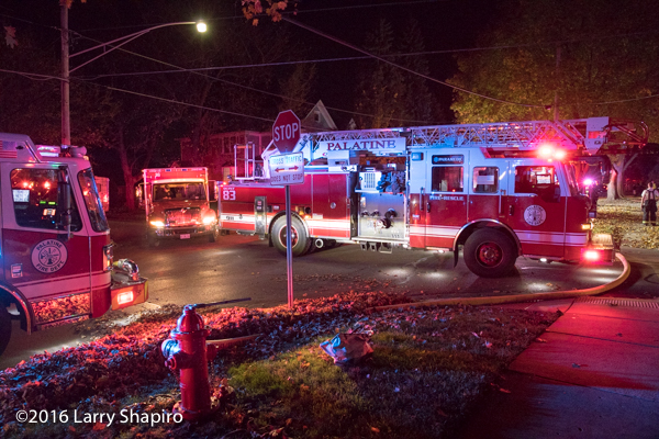 Palatine fire trucks at fire scene
