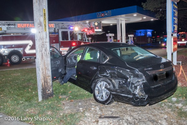heavy damage to car after a crash