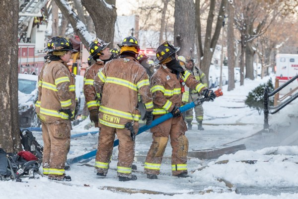 firefighters working in frigid temperatures