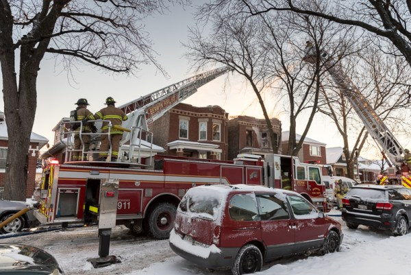 Berwyn FD ladder truck at a fire scene