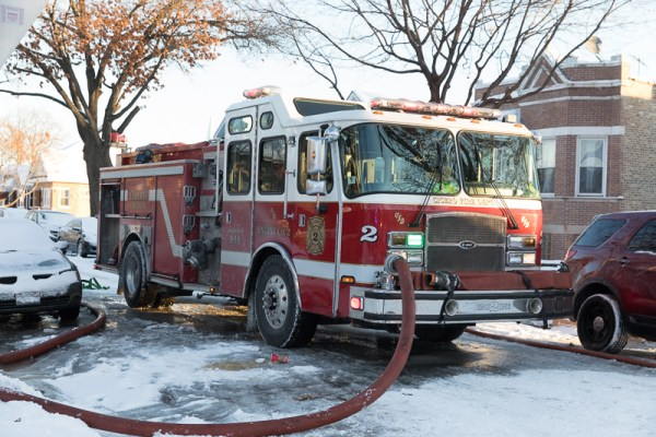 Cicero FD fire engine pumping