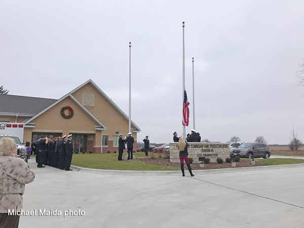 flag raising at new fire station