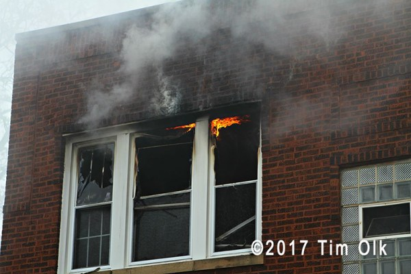 fire in window of building