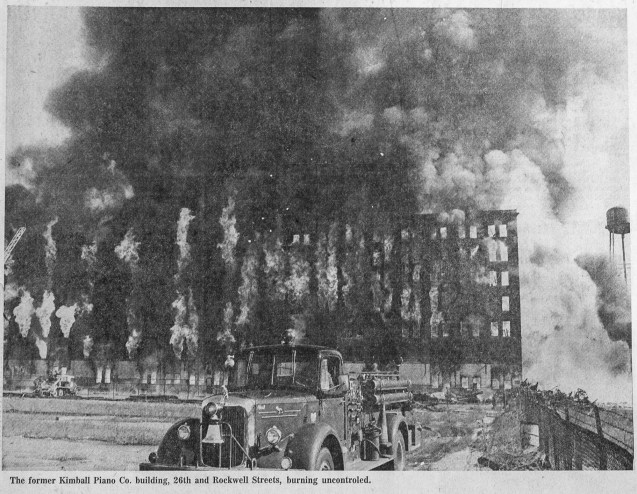 Vintage Chicago Tribune news clipping of a 5-11 Alarm fire in Chicago, February 17, 1974