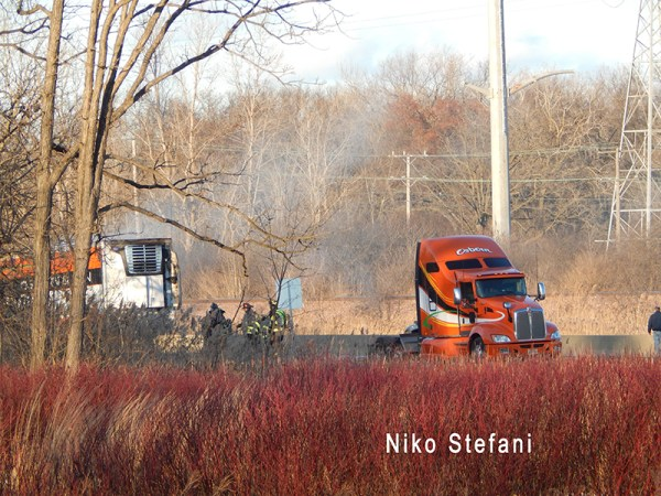 truck fire on the highway
