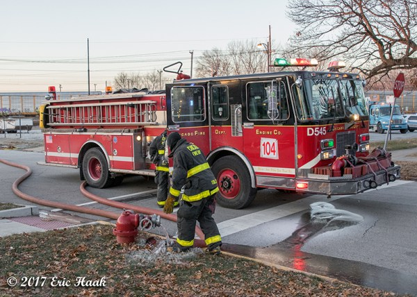 Chicago FD spare fire engine on a hydrant