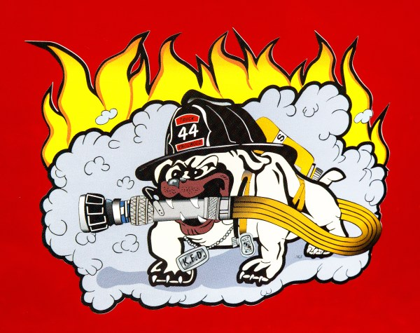 Bull dog character on fire truck