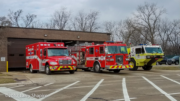 Wheeling fire trucks and ambulance