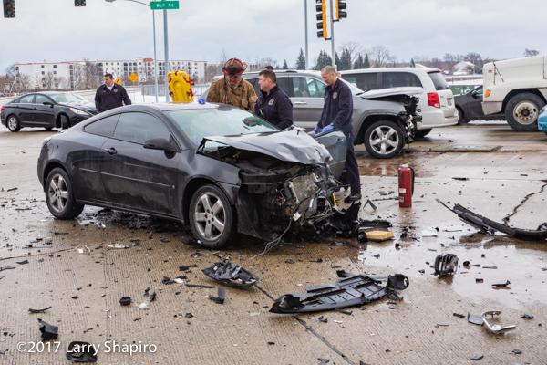 heavy damage to car after crash