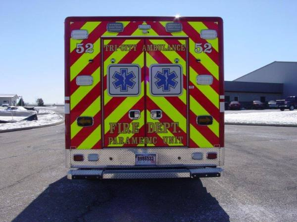rear of ambulance with chevron striping