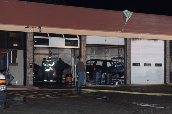 aftermath of car repair shop fire