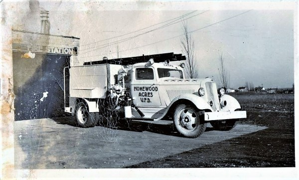 Vintage fire truck from the Homewood Acres Volunteer Fire Department