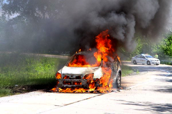 car engulfed in fire