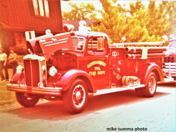 vintage L-Model Mack pumper