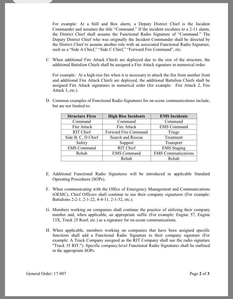 CFD General Order 17-007