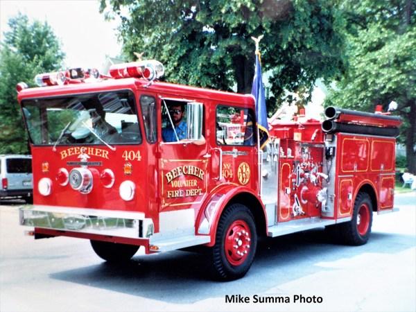 vintage photo of American LaFrance Pioneer fire engine