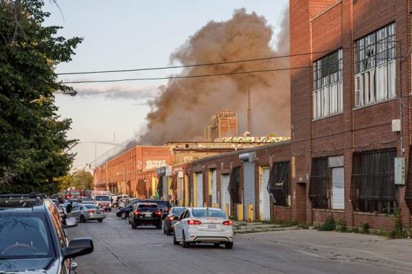 heavy smoke from warehouse fire