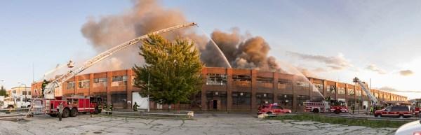 panoramic image of Chicago fire scene