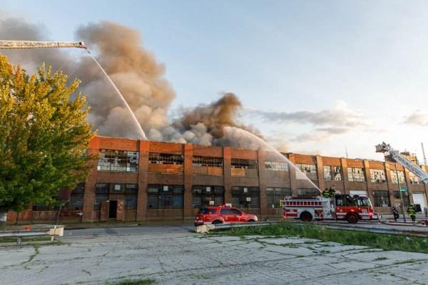 warehouse fire scene in Chicago