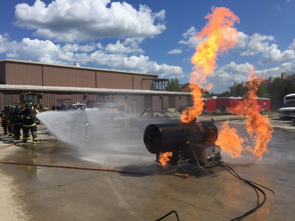 firefighter academy training with propane fire